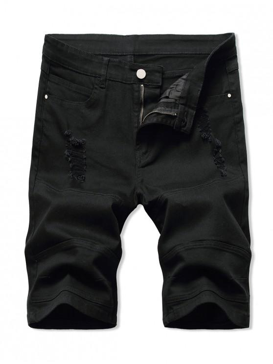 Shorts Vaqueros Desgastados Bota - Negro 34