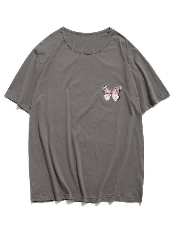 Casual Butterfly Graphic Drop Shoulder T Shirt - الرمادي الداكن XS