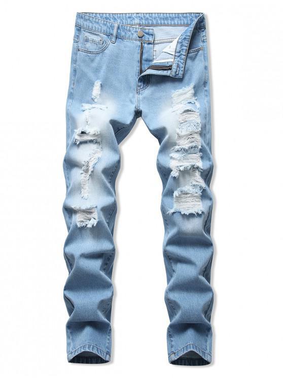 Jeans Casual Desgastado - Azul Claro 40