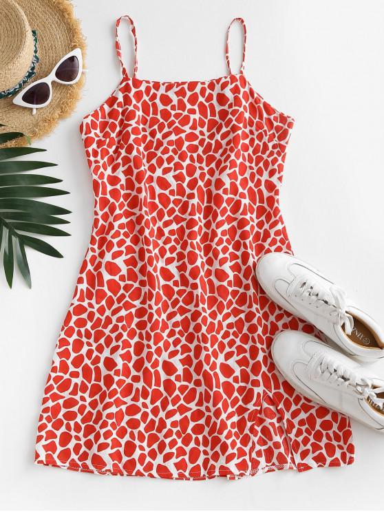 fancy Printed Slit Sheath Cami Dress - RED S