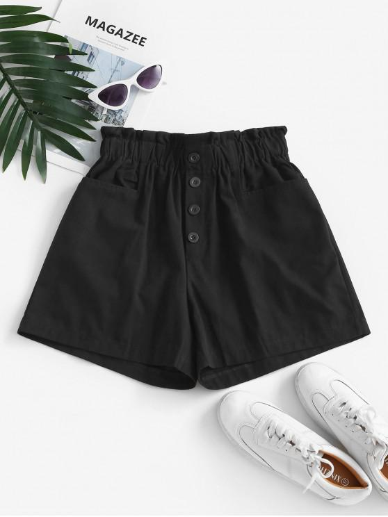 chic Frilled Pocket High Waisted Buttoned Shorts - BLACK ONE SIZE