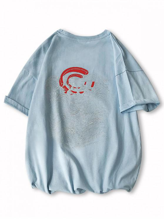 new Drop-shoulder Magnet Wave Pattern Sleeve Tee - SKY BLUE XS