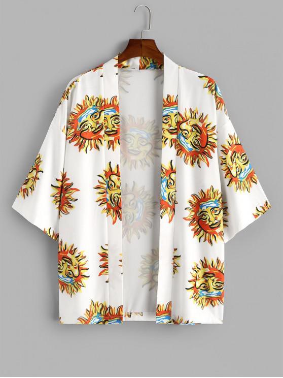 women Sun Print Open Front Kimono Cardigan - WHITE S