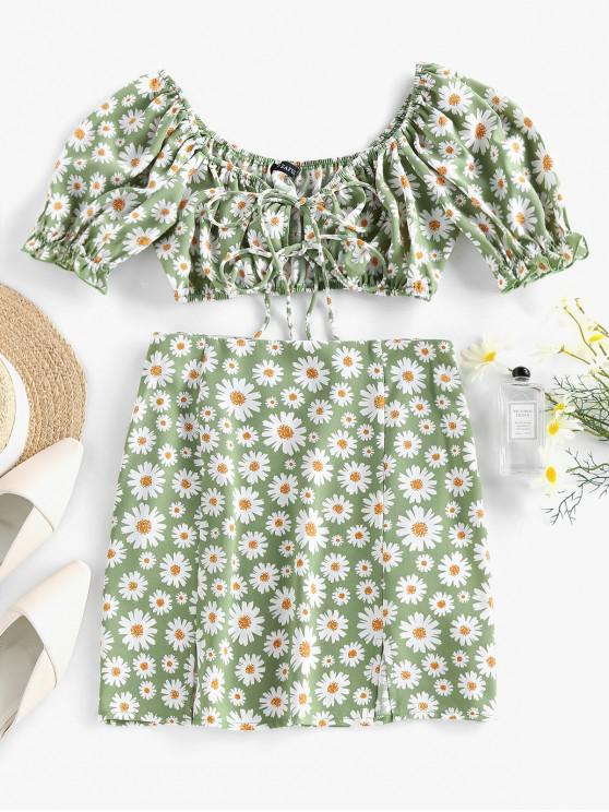 sale ZAFUL Daisy Print Slit Tie Front Ruffle Skirt Set - LIGHT GREEN M