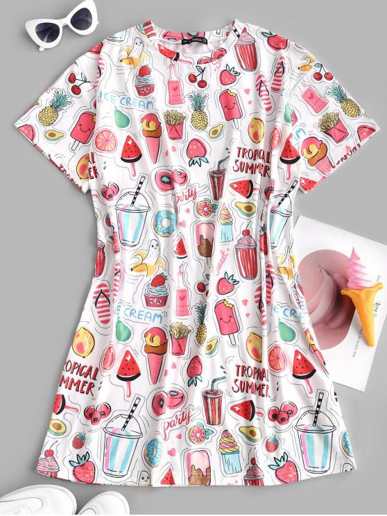 new ZAFUL Fruit Ice Cream Drop Shoulder Tee Dress - WHITE M