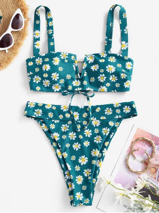 latest ZAFUL Daisy Print V Wired Tie Back Padded Bikini Swimwear - DEEP GREEN S