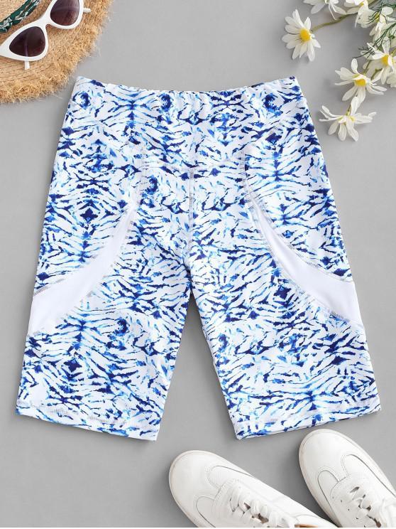unique Sports Tie Dye Biker Shorts - LIGHT BLUE S