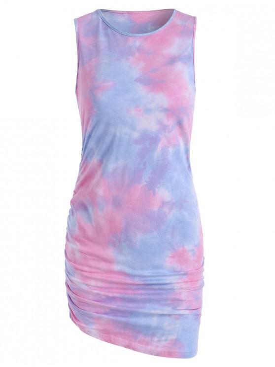 Tie Dye Draped Tank Dress - وردي فاتح L