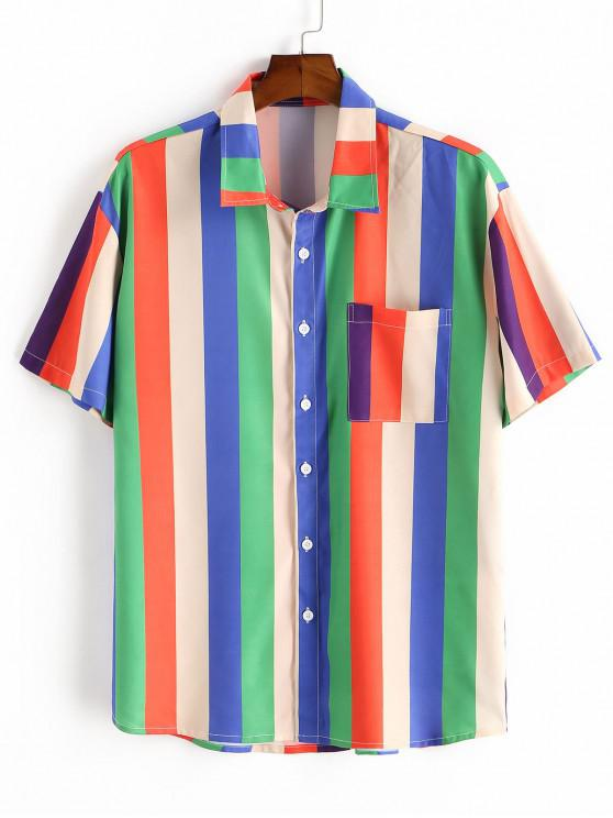 Colorful Striped Print Short Sleeve Pocket T-shirt - متعدد 2XL