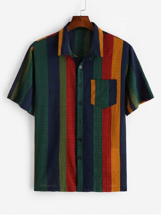 Camisa a Rayas Coloridos Estampado Bolsillo Vintage - Azul Profundo M