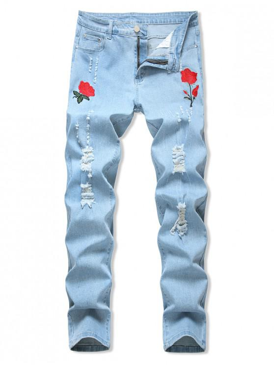 chic Floral Embroidered Ripped Design Jeans - LIGHT BLUE 36