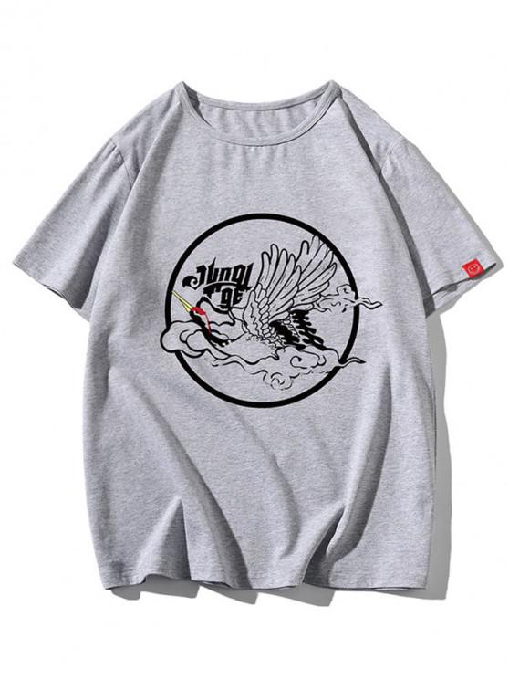 best Oriental Cranes Graphic Crew Neck Short Sleeve T Shirt - GRAY XS