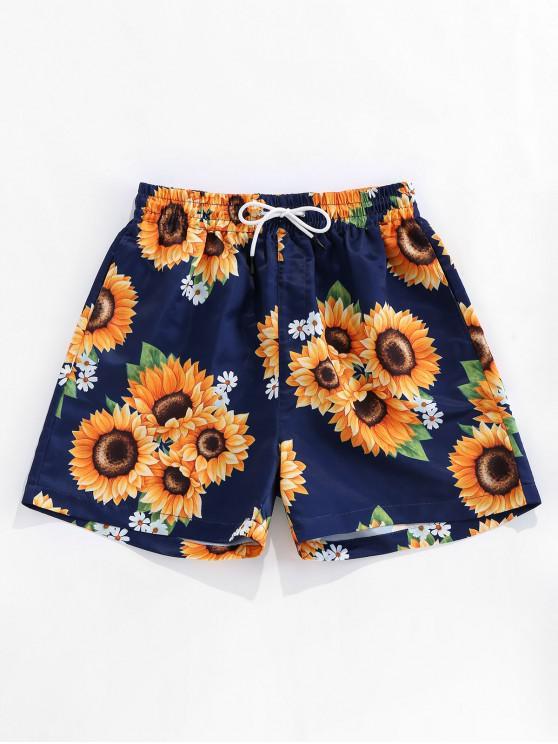 trendy ZAFUL Sunflower Print Drawstring Board Shorts - DEEP BLUE 2XL