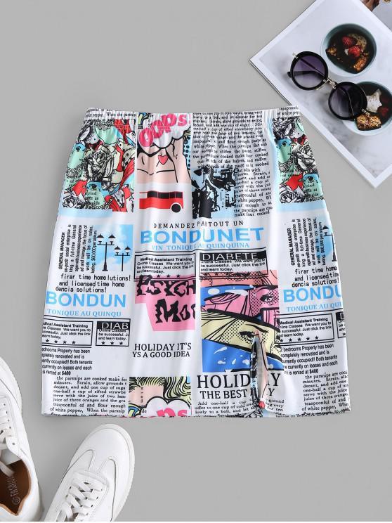women ZAFUL Slit Newspaper Pop Art Print Mini Skirt - WHITE S