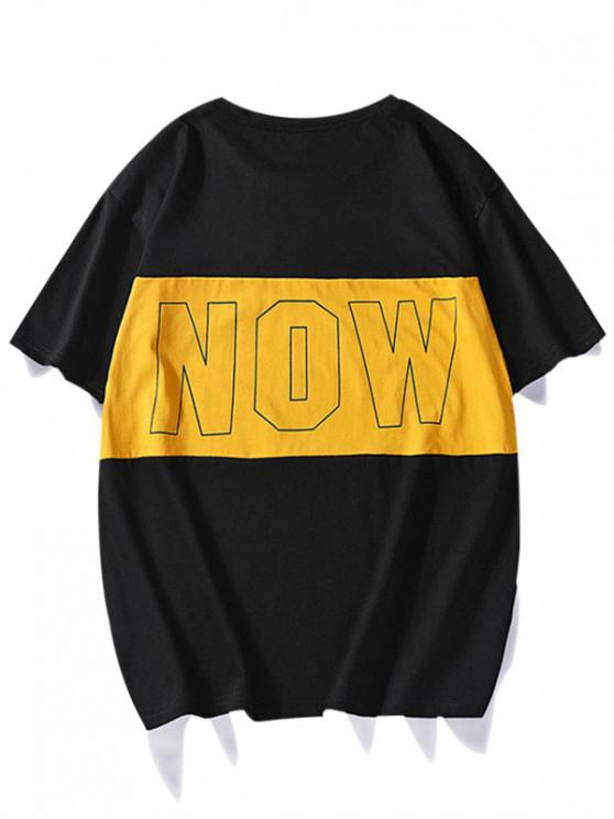 women Contrast Now Graphic Crew Neck Casual T Shirt - BLACK XS