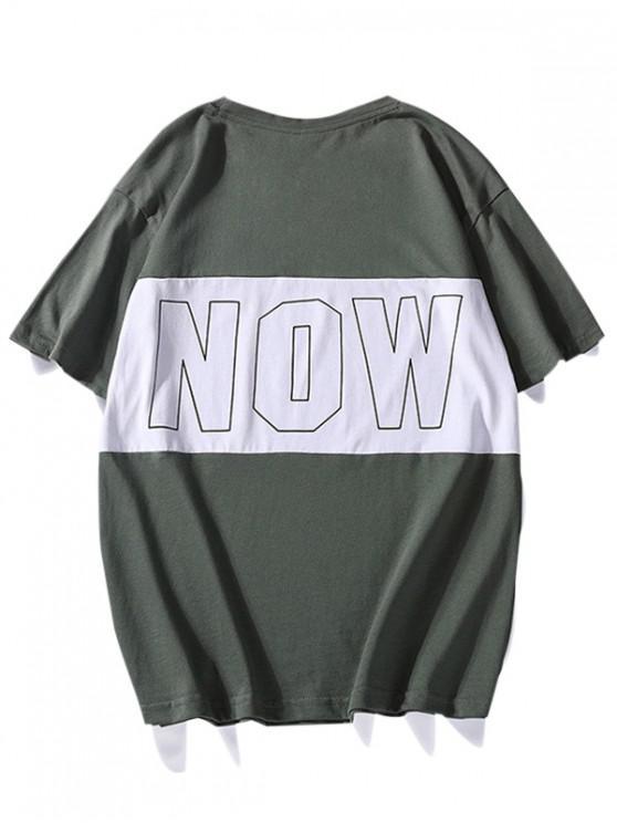 T-shirt Décontracté GraphiqueContrasté àCol Rond - Vert Trèfle XS