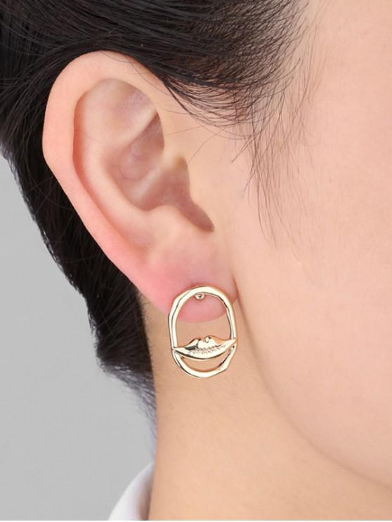 latest Oval Eye Lip Shape Faux Pearl Earrings - GOLDEN