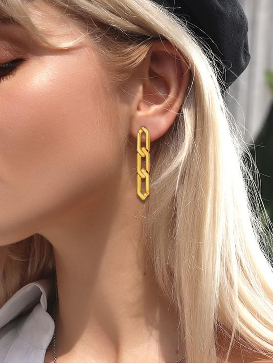 hot 18K Gold Plated Silver Needle Chain Earrings - GOLDEN