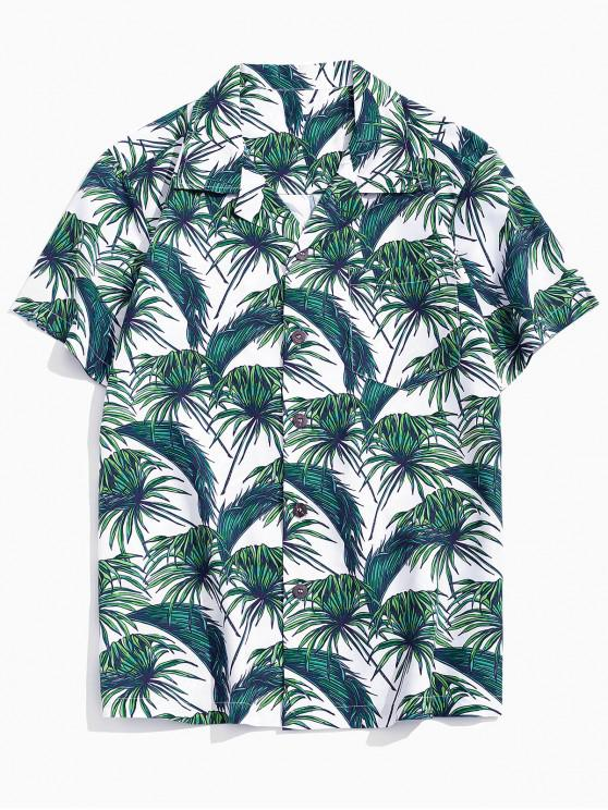 latest Vacation Tropical Leaf Print Pocket Patch Shirt - MULTI-A XS