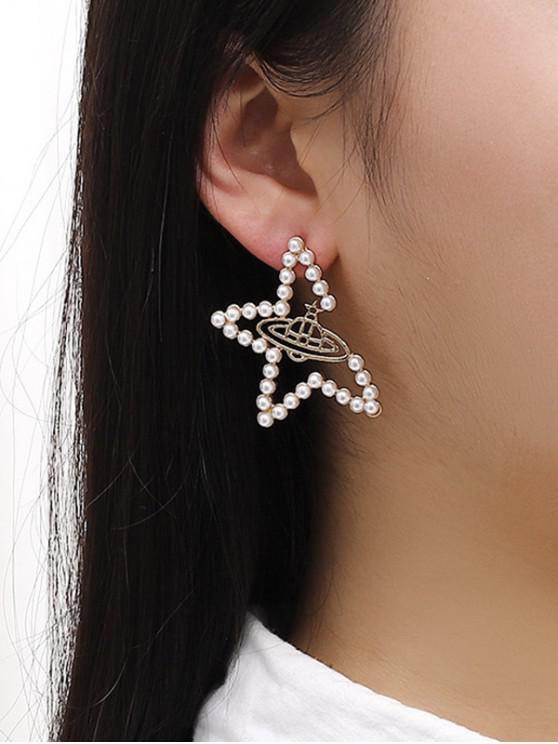 buy Faux Pearl Star UFO Shape Stud Earrings - GOLDEN