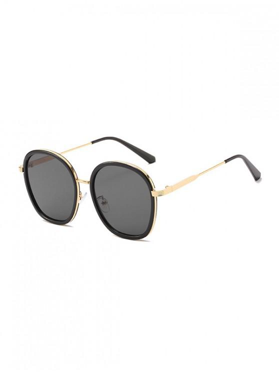outfit Metal Round Anti UV Sunglasses - BLACK