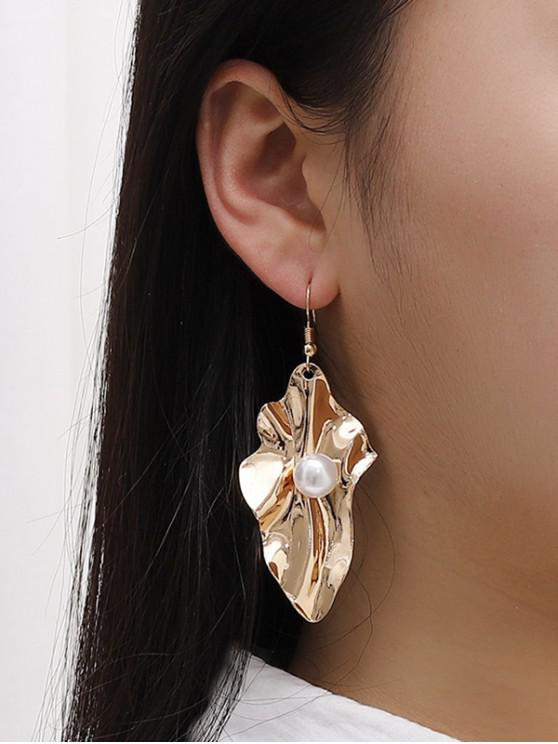 women Faux Pearl Leaf Shape Hook Earrings - GOLDEN