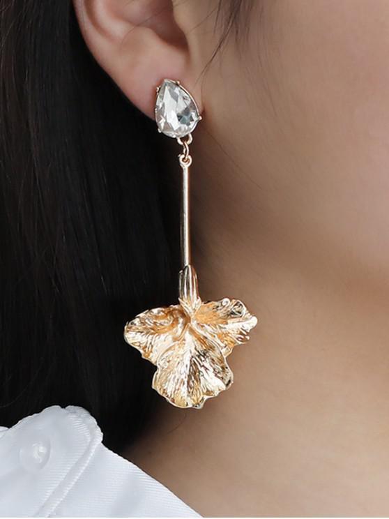 affordable Rhinestone Maple Leaves Shape Asymmetric Earrings - GOLDEN