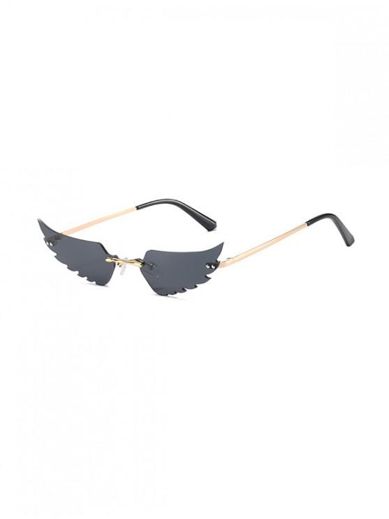 online Wing Shape Metal Rimless Sunglasses - BLACK