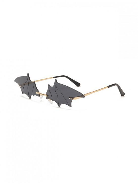 best Bat Wing Shape Rimless Sunglasses - BLACK