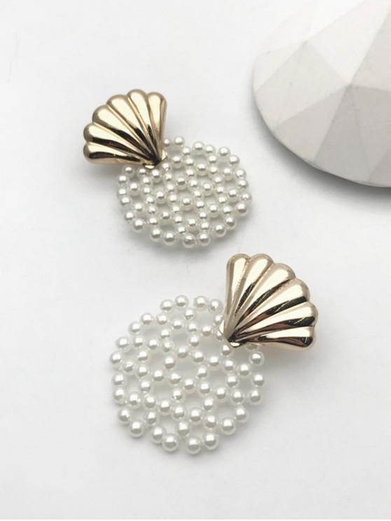 latest Faux Pearl Shell Shape Stud Earrings - GOLDEN