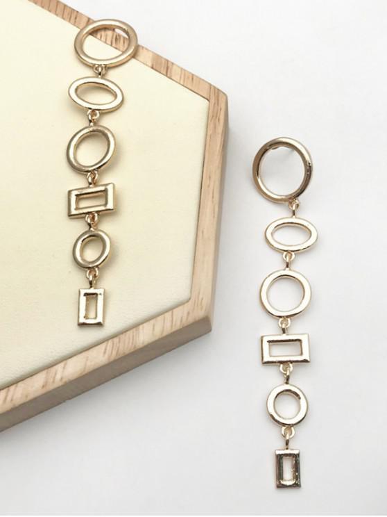 new Hollow Out Geometric Shape Long Earrings - GOLDEN