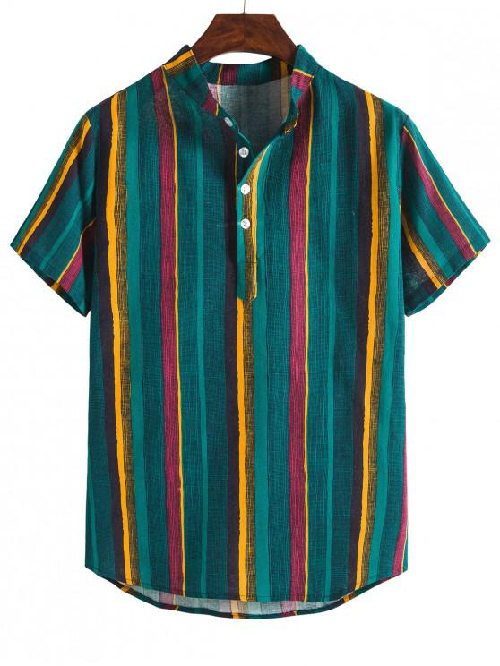 Camisa Casual a Rayas de Colores de Cuello Alto - Verde Oscuro M