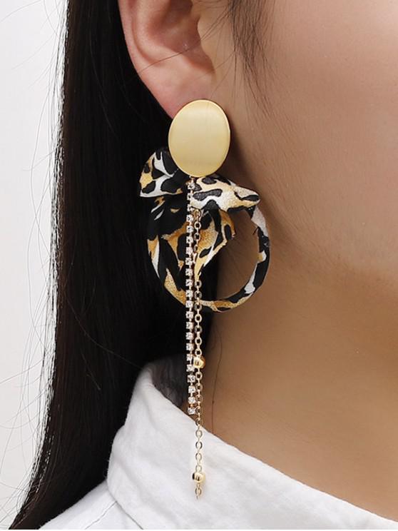 sale Leopard Bowknot Faux Pearl Asymmetric Earrings - GOLDEN