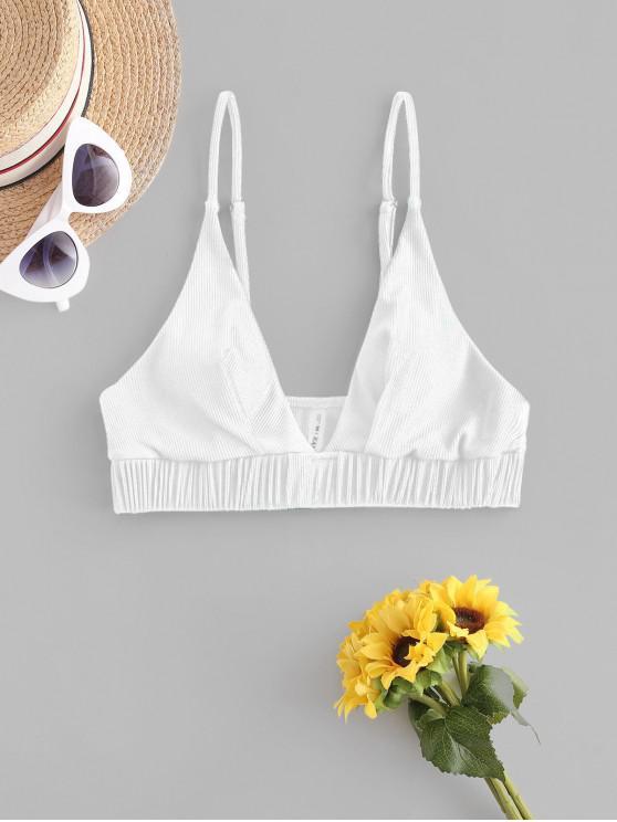 new ZAFUL Ribbed Plunge Ruched Bikini Top - WHITE M