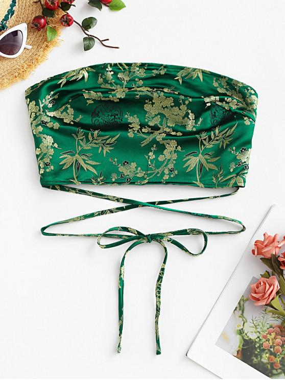 ZAFUL flori Jacquard Smocked Tie bandeau Top - Deep Green S