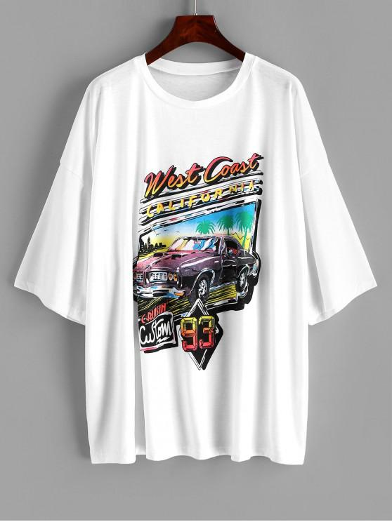 ladies Letter Car Print Drop Shoulder Longline T-shirt - WHITE S