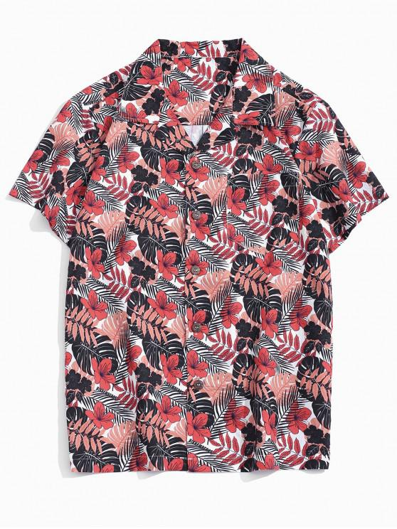 unique Tropical Leaf Print Pocket Patch Vacation Shirt - MULTI XS
