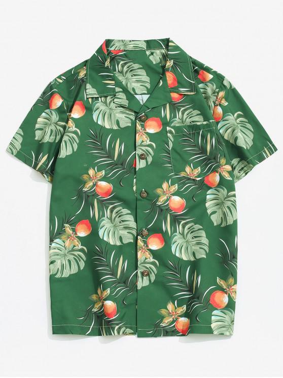 best Wildflower Leaf Print Pocket Beach Button Up Shirt - MULTI-A S