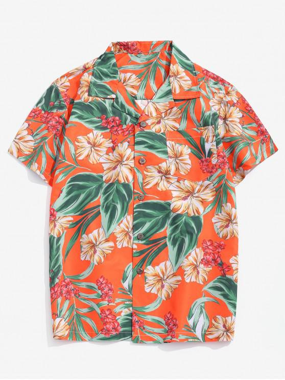 outfits Wildflower Leaf Print Pocket Beach Button Up Shirt - MULTI-B XS