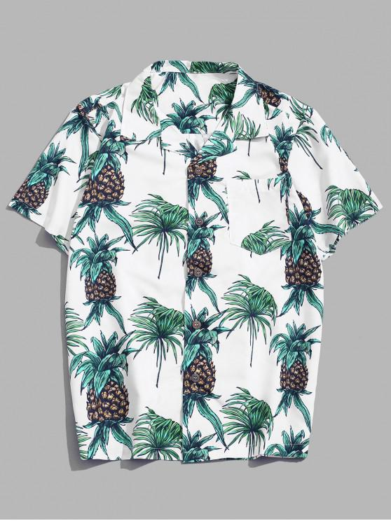 Tropical Pineapple Print Pocket Short Sleeve Beach Shirt - Multi XS