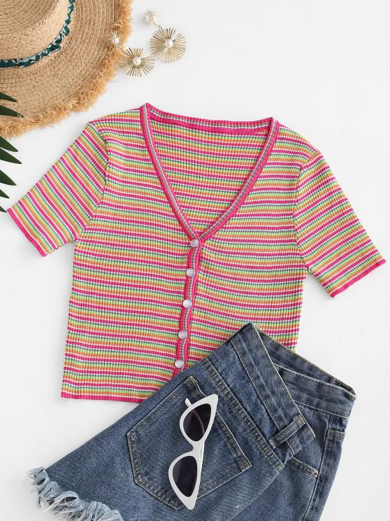 fashion Knitted Button Up Colorful Stripes Tee - RED ONE SIZE