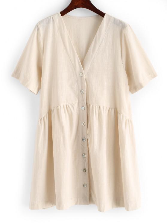 women Solid Button Up V Neck Mini Dress - LIGHT COFFEE M