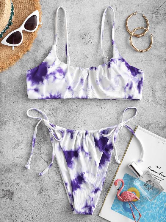 affordable ZAFUL Pattern Of Art Tie Dye String Bikini Swimwear - LIGHT PURPLE L