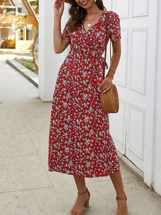 women's Tiny Floral Print A Line Wrap Dress - RED WINE S