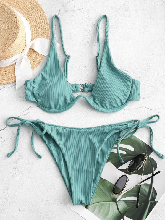 unique ZAFUL Tie Side Underwire Ribbed Bikini Swimsuit - LIGHT GREEN S