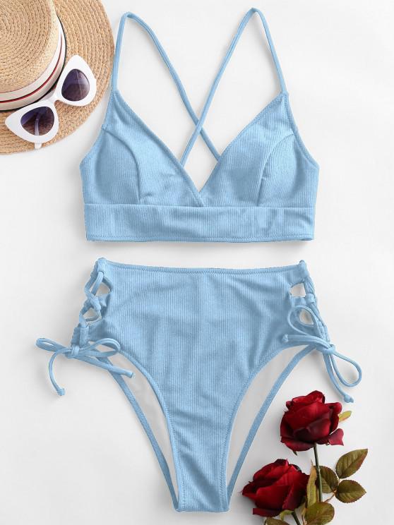 ZAFUL Maillot de Bain Bikini Croisé Côtelé à Lacets - Bleu clair S