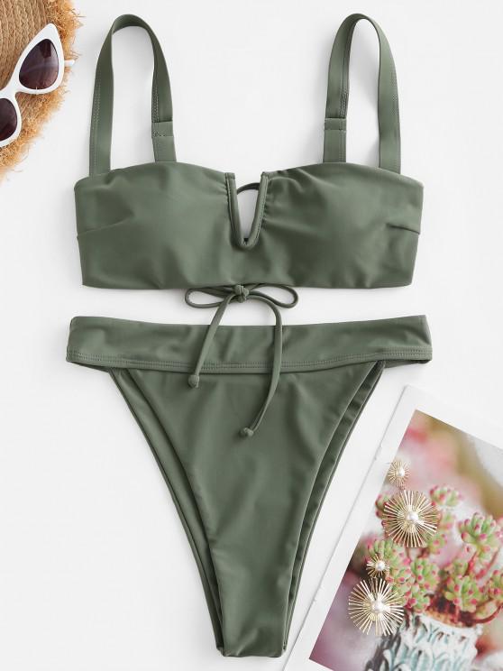 women ZAFUL V Wired Plain High Cut Bikini Swimwear - LIGHT GREEN M