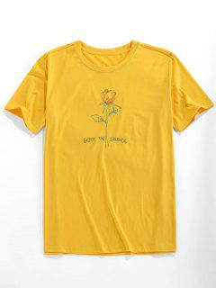 ZAFUL Camiseta Con Bordado De Rosa Con Mangas Cortas - Amarillo Brillante 2xl