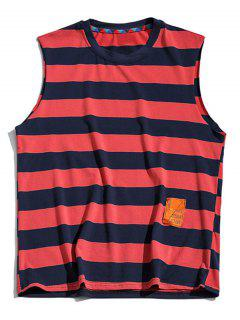 Color Blocking Letter Pattern Tank Top - Lava Red 4xl
