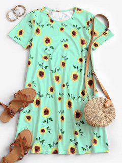 Sunflower Print Trapeze T-shirt Dress - Green M